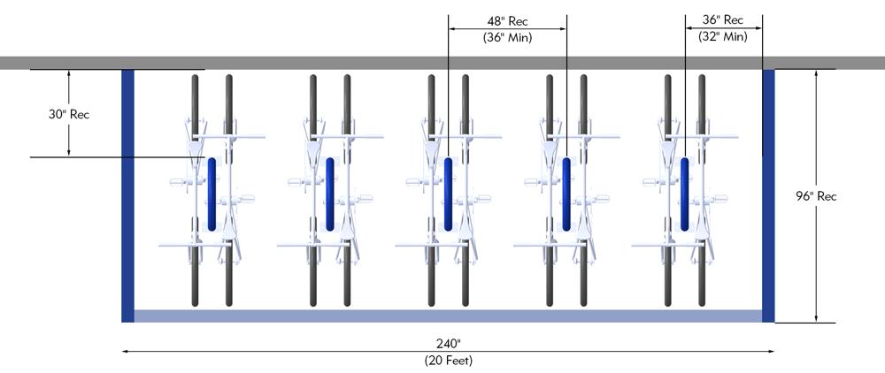 Bike Parking Dimensions Bike Corral Bike Racks Perpendicular to Curb Layout