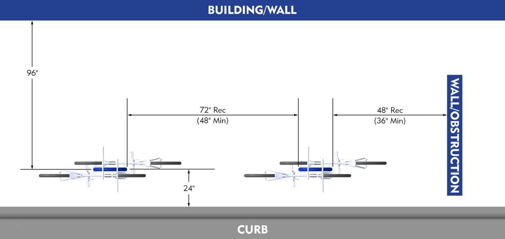 Bike Parking Dimensions Racks Parallel to Curb Wall Walkway Layout