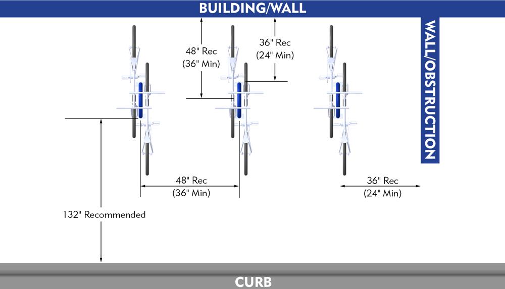 Bike Parking Dimensions Racks Perpendicular to Curb Curb Walkway Layout