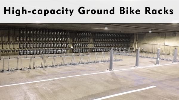High Capacity Ground Bike Storage Racks
