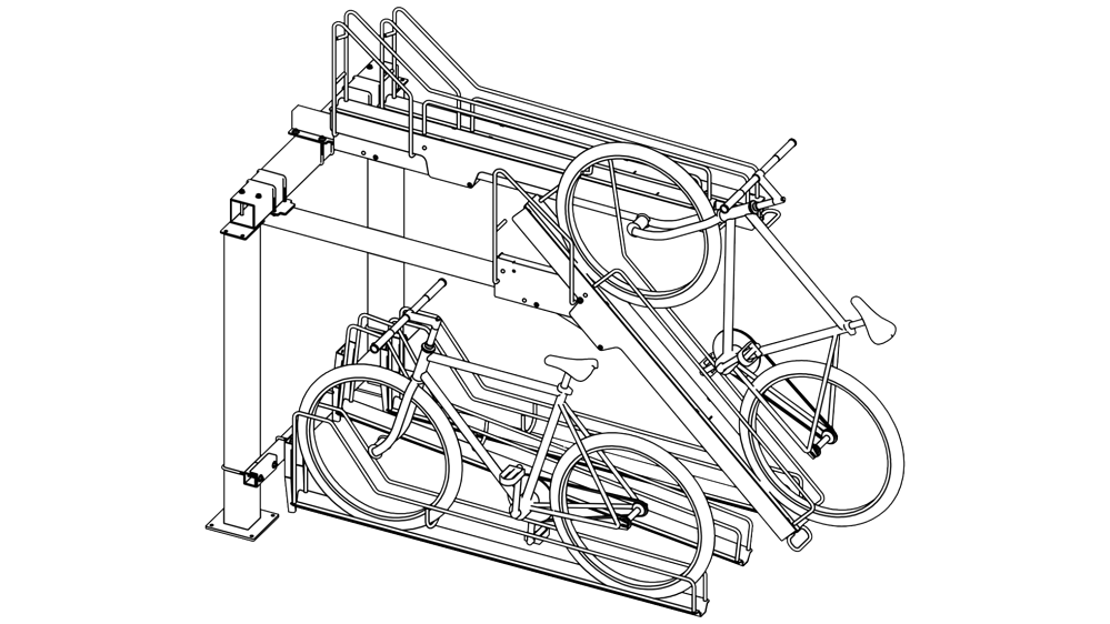 Lift Assisted Two Tier Bike Rack