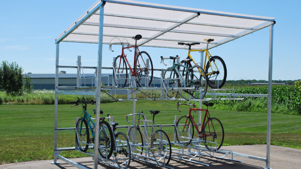 Madrax Bike Shed with Two Tier Bike Parking
