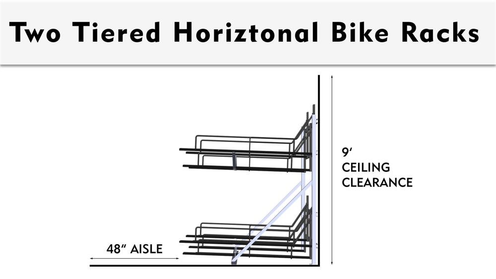 Two Tiered Bike Storage Rack Spacing Dimensions