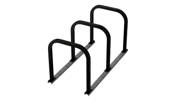 U racks on rails are ideal for use in on-street bike parking corrals.
