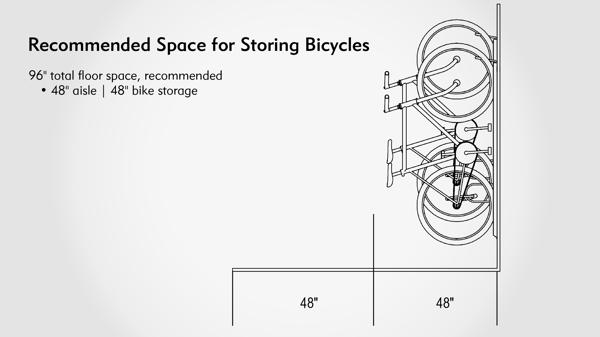 Vertical Bike Racks Aisle Space Dimensions