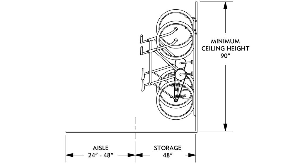 Vertical Bike Storage Space Dimensions