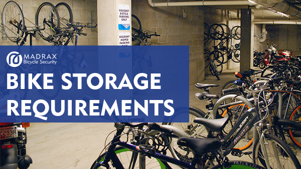 Bike storage requirements title overlaid on an image of a bike storage room.