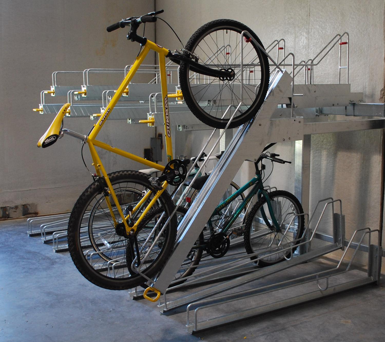 Bike-Room-Design-Tips-Two-Tiered-Horizontal-Bike-Rack